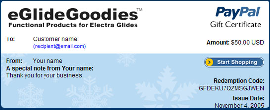 Sample Winter Holiday Gift Certificate